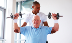 old man dumbbells